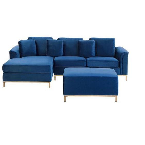 Beliani - Canapé dangle design en velours bleu foncé avec pouf inclus