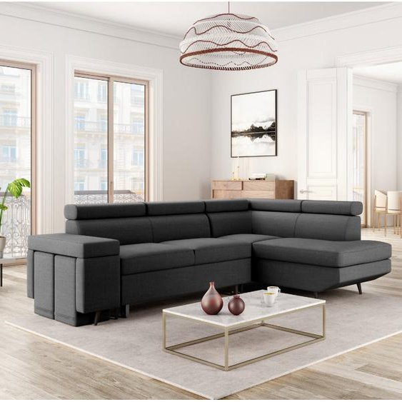 Canapé dAngle Droit Convertible MILA avec Poufs - 252 x 181 x 90 cm -