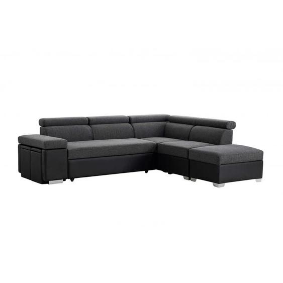 Canapé dAngle Droit Convertible SOLENA avec Coffre et Poufs - 250 x 220 x 90 cm -