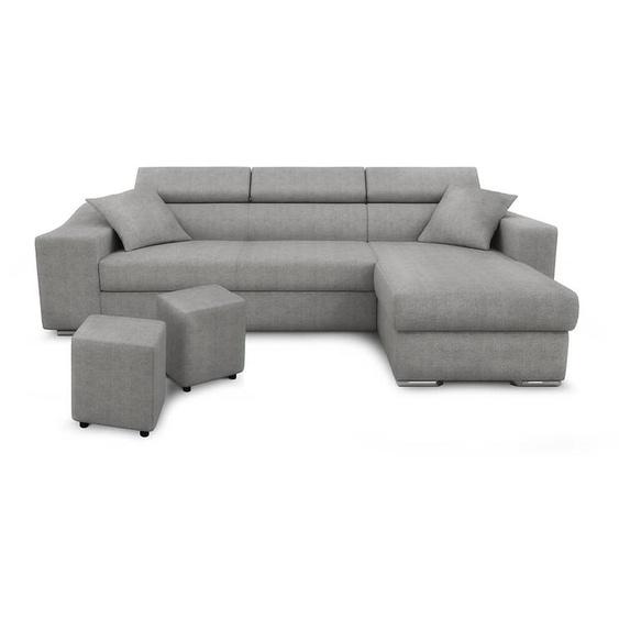 Canapé dAngle ELONA Convertible en Tissu - Gris clair, Position du rangement poufs - Gauche - 264 x 162 x 75 cm -