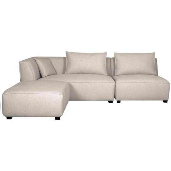 Canapé dangle gauche modulable en tissu beige PLURIEL