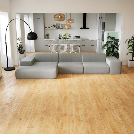 Canapé dangle - Grège, design arrondi, canapé en L ou angle, confortable avec méridienne ou coin - 396 x 72 x 168 cm, modulable