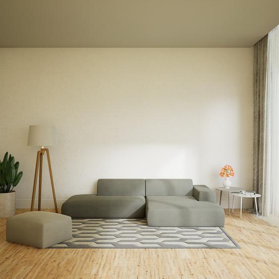 Canapé dangle - Gris ardoise, design arrondi, canapé en L ou angle, confortable avec méridienne ou coin - 296 x 72 x 168 cm, modulable