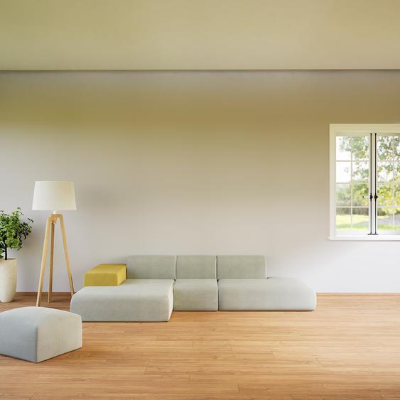 Canapé dangle - Gris Clair, design arrondi, canapé en L ou angle, confortable avec méridienne ou coin - 319 x 72 x 168 cm, modulable