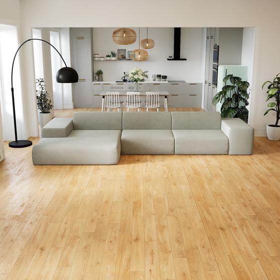 Canapé dangle - Gris Clair, design arrondi, canapé en L ou angle, confortable avec méridienne ou coin - 396 x 72 x 168 cm, modulable