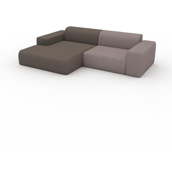 Canapé dangle - Gris Taupe/Beige Sahara, design arrondi, canapé en L ou angle, confortable avec méridienne ou coin - 268 x 72 x 168 cm, modulable