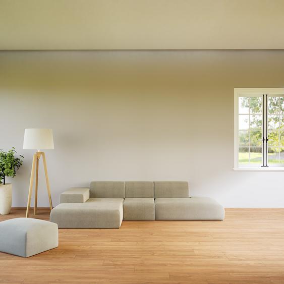 Canapé dangle - Gris Taupe, design arrondi, canapé en L ou angle, confortable avec méridienne ou coin - 319 x 72 x 168 cm, modulable