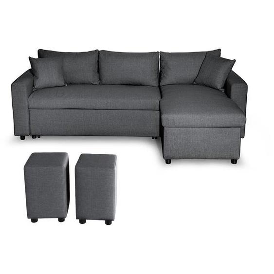 Canapé dAngle GUEST Réversible et Convertible avec Coffre et 2 Poufs en tissu - Gris foncé - 225 x 148 x 71 cm -