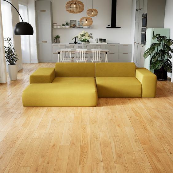 Canapé dangle - Jaune Moutarde, design arrondi, canapé en L ou angle, confortable avec méridienne ou coin - 282 x 72 x 168 cm, modulable