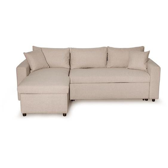 Canapé dAngle MARIA Réversible et Convertible avec Coffre en tissu - Beige - 223 x 146 x 82.5 cm -