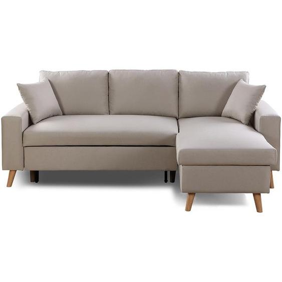 Canapé dAngle MARIA SCANDINAVE Réversible et Convertible - Beige - 229 x 147 x 91 cm -