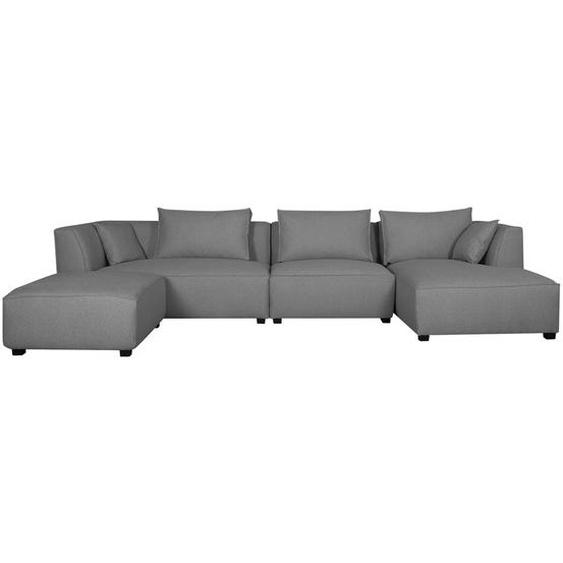 Canapé dangle modulable 4 éléments gris clair PLURIEL