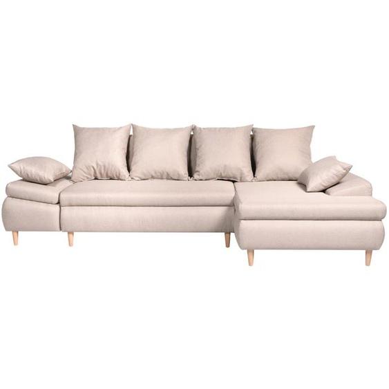 Canapé dAngle NALA Convertible avec Coffre en Tissu - Angle Droit, Beige - 271 x 153 x 92 cm -
