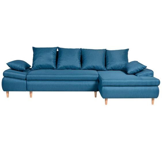 Canapé dAngle NALA Convertible avec Coffre en Tissu - Angle Droit, Bleu canard - 271 x 153 x 92 cm -