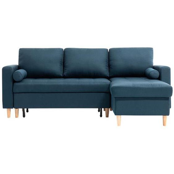 Canapé dangle PIA Réversible et Convertible avec coffre - Bleu canard - 229 x 147 x 91 cm -