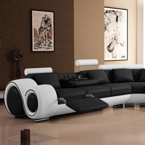 Canapé dangle relax design en cuir - Carlson - Assise Noir 902