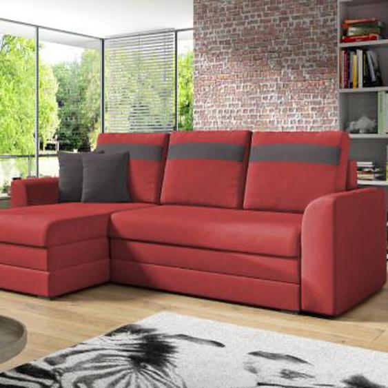 Canapé dangle réversible et convertible en tissu GIANY - Rouge et bandes anthracites