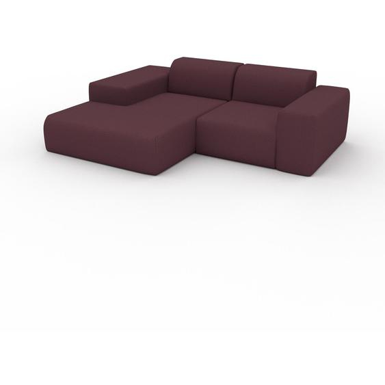 Canapé dangle - Rouge Mûre, design arrondi, canapé en L ou angle, confortable avec méridienne ou coin - 232 x 72 x 168 cm, modulable