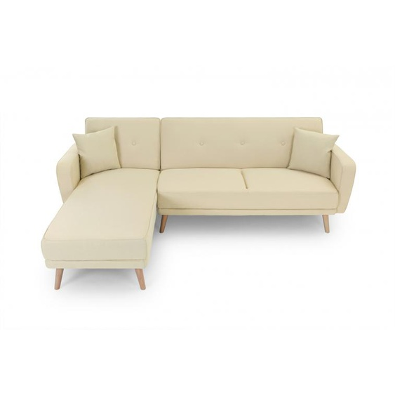 Canapé dAngle Scandinave KARA Réversible et Convertible en Tissu - Beige - 235 x 157 x 82 cm -