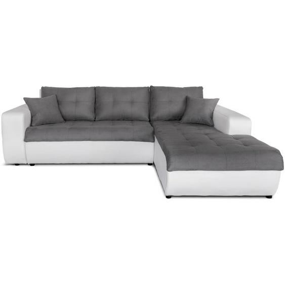 Canapé dAngle SUZIE Convertible en Simili et Microfibre - Angle Droit, Blanc et Gris - 246 x 190 x 85 cm -