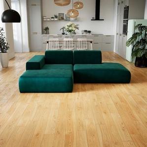 Canapé dangle Velours - Bleu Pétrole, design arrondi, canapé en L ou angle, confortable avec méridienne ou coin - 245 x 72 x 168 cm, modulable