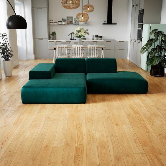 Canapé dangle Velours - Bleu Pétrole, design arrondi, canapé en L ou angle, confortable avec méridienne ou coin - 259 x 72 x 168 cm, modulable