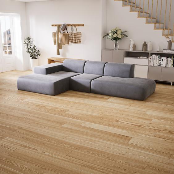 Canapé dangle Velours - Grège, design arrondi, canapé en L ou angle, confortable avec méridienne ou coin - 319 x 72 x 168 cm, modulable