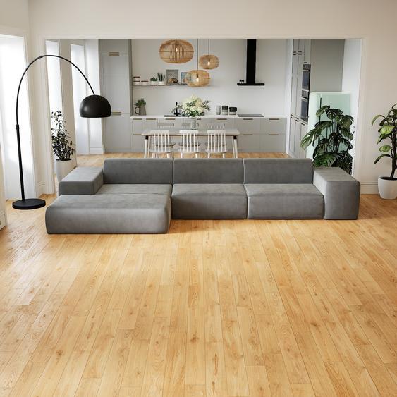 Canapé dangle Velours - Grège, design arrondi, canapé en L ou angle, confortable avec méridienne ou coin - 396 x 72 x 168 cm, modulable