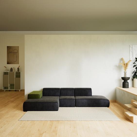 Canapé dangle Velours - Gris Pierre, design arrondi, canapé en L ou angle, confortable avec méridienne ou coin - 319 x 72 x 168 cm, modulable