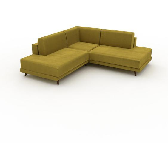 Canapé dangle Velours - Jaune Colza, design épuré, canapé en L ou angle, élégant avec méridienne ou coin - 214 x 75 x 214 cm, modulable