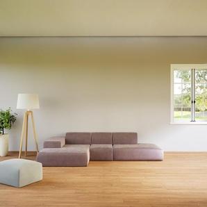 Canapé dangle Velours - Rose Poudré, design arrondi, canapé en L ou angle, confortable avec méridienne ou coin - 319 x 72 x 168 cm, modulable