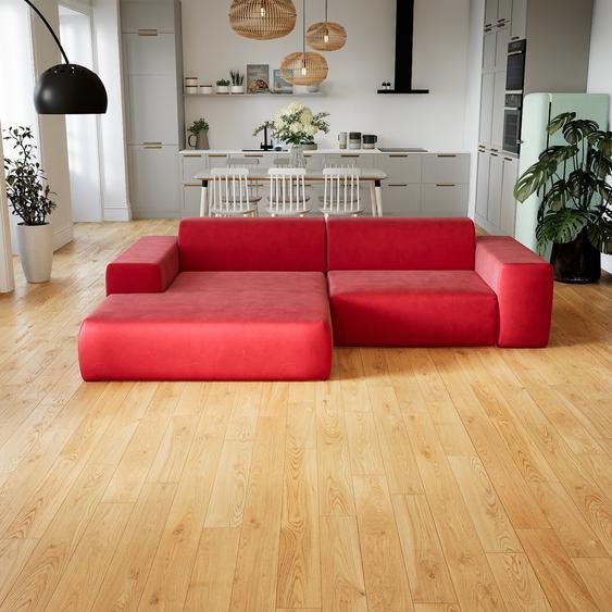 Canapé dangle Velours - Rouge Corail, design arrondi, canapé en L ou angle, confortable avec méridienne ou coin - 268 x 72 x 168 cm, modulable