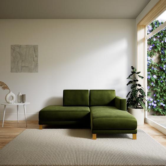 Canapé dangle Velours - Vert Olive avec des pieds dorés, design épuré, canapé en L ou angle, élégant avec méridienne ou coin - 172 x 75 x 162 cm, modulable