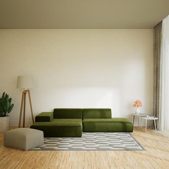 Canapé dangle Velours - Vert Olive, design arrondi, canapé en L ou angle, confortable avec méridienne ou coin - 310 x 72 x 168 cm, modulable
