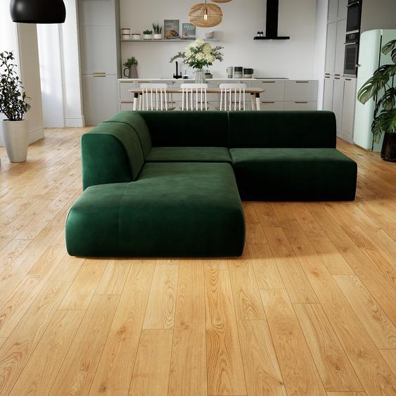 Canapé dangle Velours - Vert Sapin, design arrondi, canapé en L ou angle, confortable avec méridienne ou coin - 207 x 72 x 241 cm, modulable