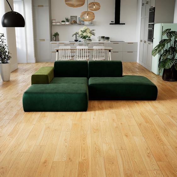 Canapé dangle Velours - Vert Sapin, design arrondi, canapé en L ou angle, confortable avec méridienne ou coin - 245 x 72 x 168 cm, modulable