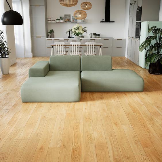Canapé dangle - Vert menthe, design arrondi, canapé en L ou angle, confortable avec méridienne ou coin - 245 x 72 x 168 cm, modulable