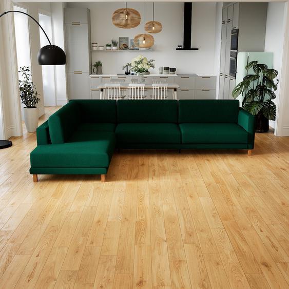 Canapé dangle - Vert Sapin, design épuré, canapé en L ou angle, élégant avec méridienne ou coin - 306 x 75 x 214 cm, modulable