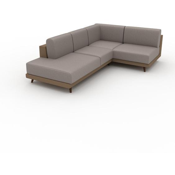 Canapé en cuir - Beige taupe Cuir Végan, lounge, esprit club ou cosy avec toucher chaleureux, 174x 75 x 254 cm, modulable