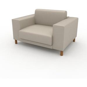 Canapé en cuir - Blanc crème Cuir Végan, lounge, esprit club ou cosy avec toucher chaleureux, 128x 75 x 98 cm, modulable