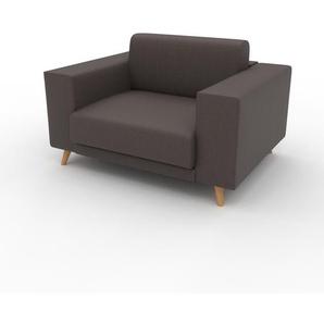 Canapé en cuir - Brun gris Cuir Végan, lounge, esprit club ou cosy avec toucher chaleureux, 128x 75 x 98 cm, modulable