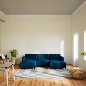 Canapé en U - Bleu Océan, design épuré, canapé dangle panoramique, grand et tendance, avec pieds - 264 x 75 x 162 cm, modulable