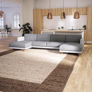Canapé en U - Gris Clair, design épuré, canapé dangle panoramique, grand et tendance, avec pieds - 345 x 75 x 162 cm, modulable