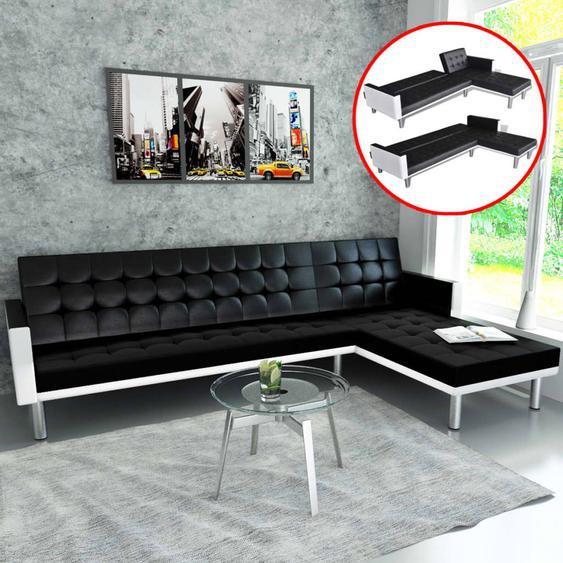 Canapé-lit dangle Cuir synthétique Noir
