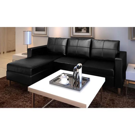 Canapé sectionnel à 3 places Cuir synthétique Noir