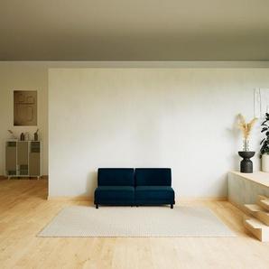 Canapé - Bleu Nuit, modèle épuré, canapé pour salon, en tissu avec pieds personnalisables - 160 x 75 x 98 cm, modulable