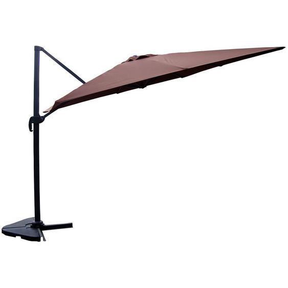 Cesare chocolat : Parasol déporté, rectangulaire de 3x4m , rotatif à 360° - CONCEPT-USINE