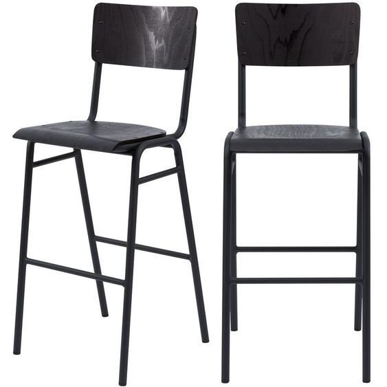 Chaise de bar écolier Clem en bois noir 75 cm (lot de 2) - Noir - RENDEZ VOUS DéCO