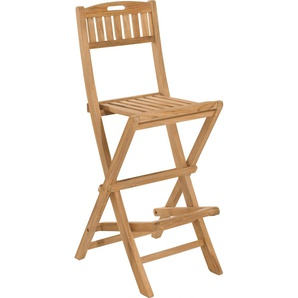 Chaise de bar haute pliante teck