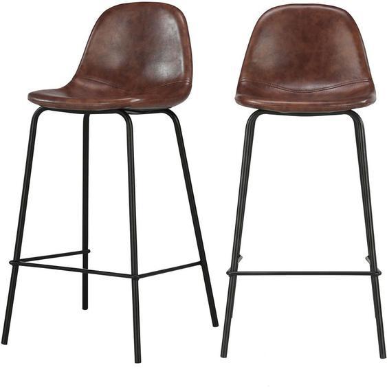 Chaise de bar mi-hauteur Henrik marron 65 cm (lot de 2) - Marron - RENDEZ VOUS DéCO